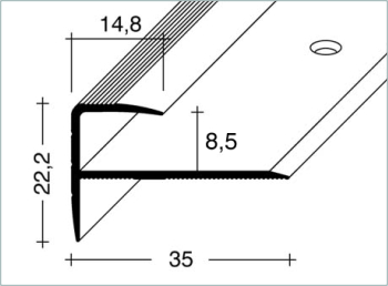 treppenkantenprofil f r laminat 8 5 mm alu eloxal europrofil. Black Bedroom Furniture Sets. Home Design Ideas